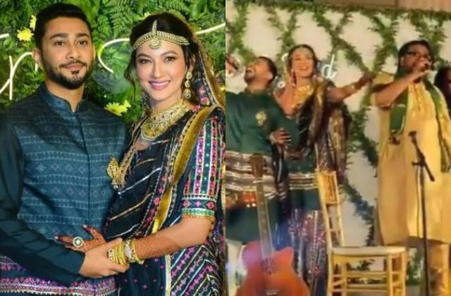 gauhar khan father in law sang tadap tadap ke song in sangeet ceremony