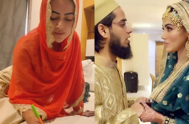 sana khan and mufti anas sayed completed one month of marriage