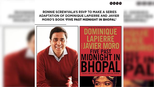 ronnie screwvala rsvp bought rights to a book printed on bhopal gas tragedy