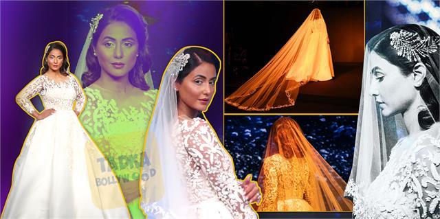 hina khan turns into a beautiful bride at bombay times fashion week
