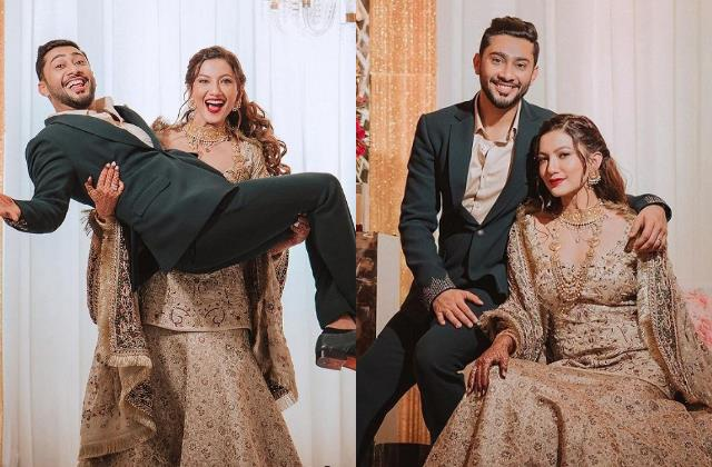 gauahar khan lift husband zaid darbar in her reception party