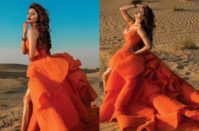 urvashi rautela got photoshoot for soul magazine cover page in deep neck gown