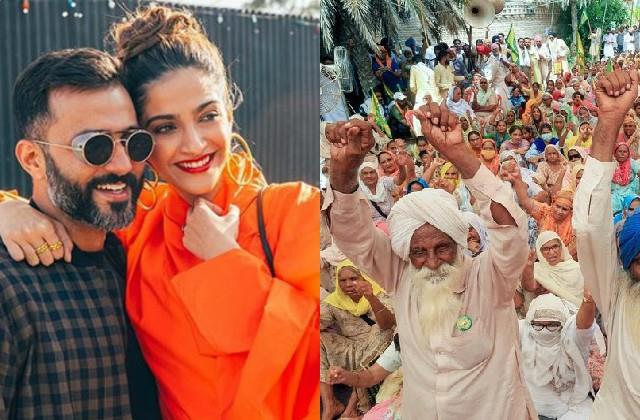sonam kapoor and anand ahuja came in support of the farmers movement