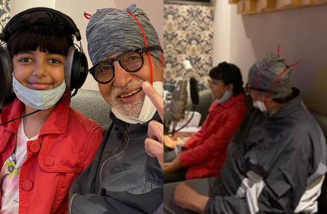 amitabh shared loving photos from the studio with granddaughter aaradhya