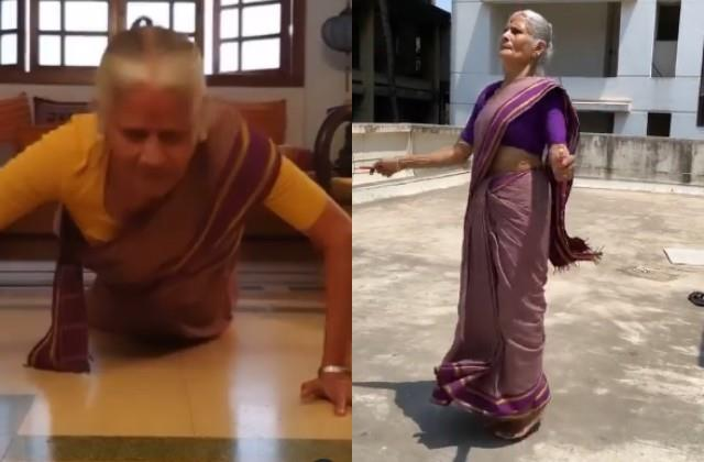milind soman mother usha skipping and push up video viral