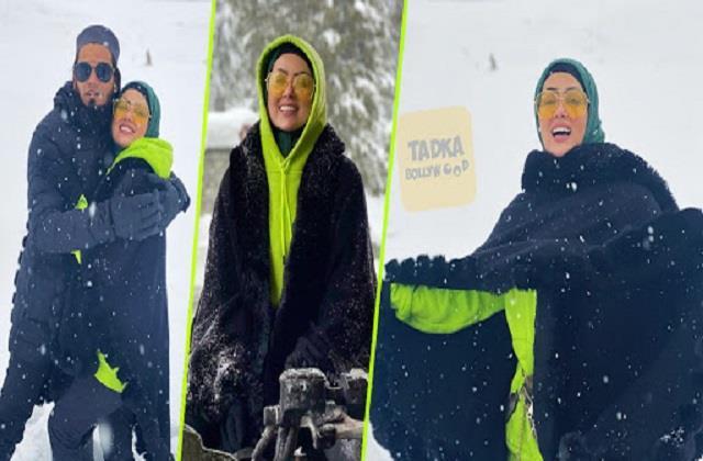 sana khan enjoys snowfall with husband anas saiyad in kashmir