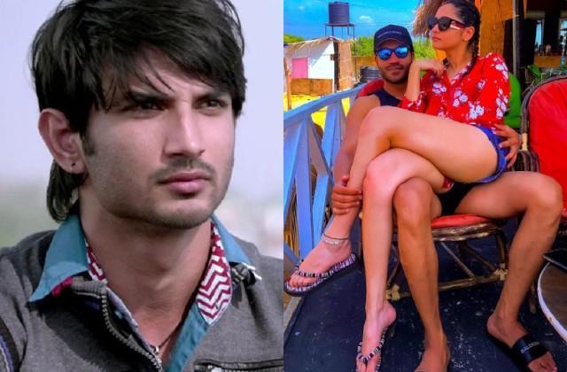 ankita lokhande sitting on vicky jain lap sushant fans trolled