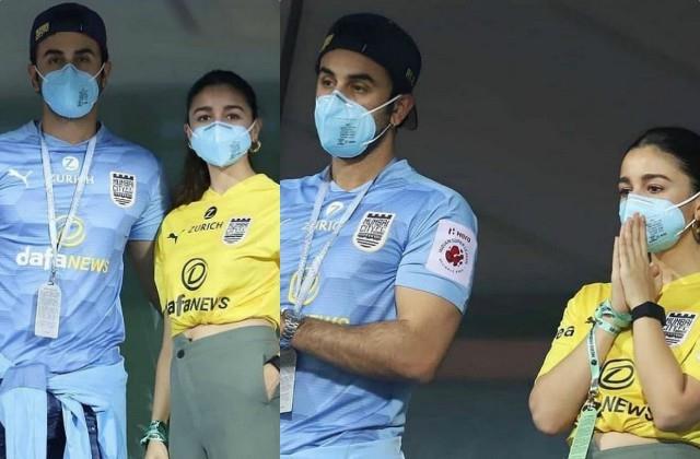 alia bhatt ranbir kapoor supoorting mumbai fc football team in goa