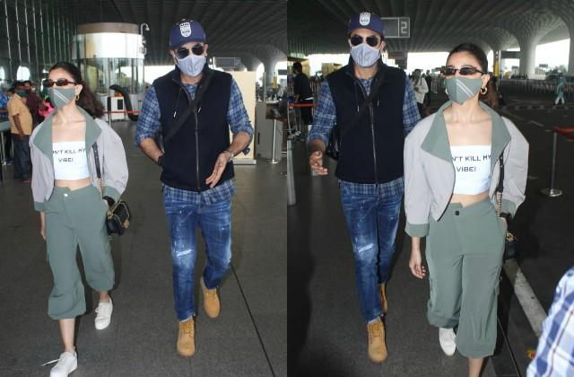 ranbir kapoor and alia bhatt spotted at the airport as they leave for goa