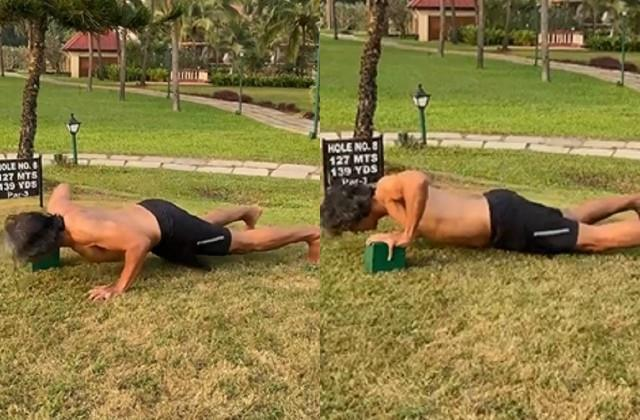 milind soman shares new push ups video