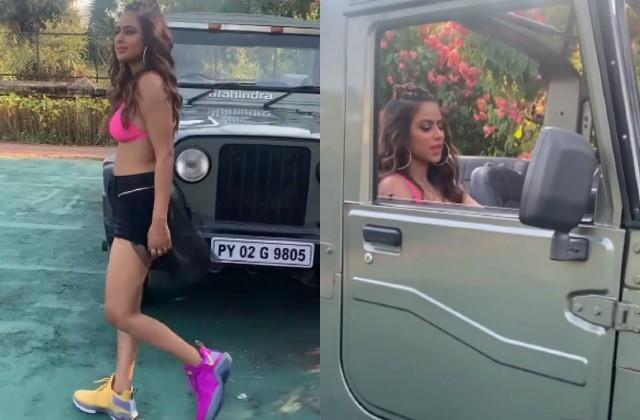 nia sharma shared her swag video with thar jeep