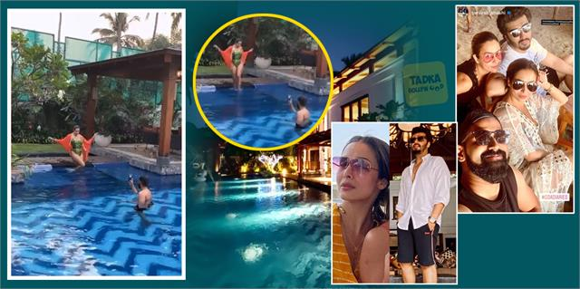 malaika arora steps into a pool boyfriend arjun kapoor become photographer