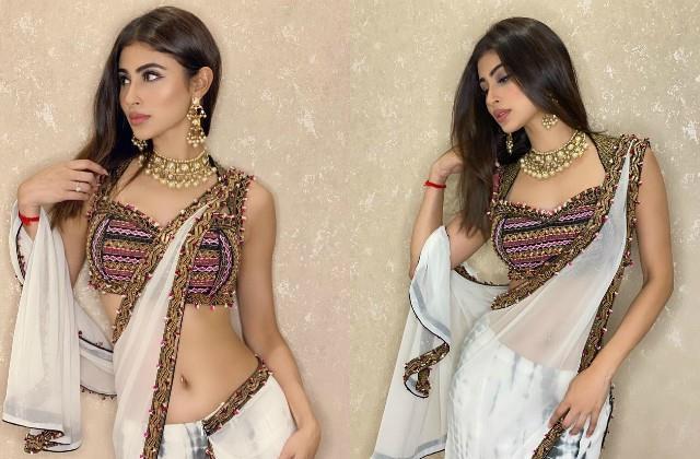 mouni roy look stunning in low waist saree