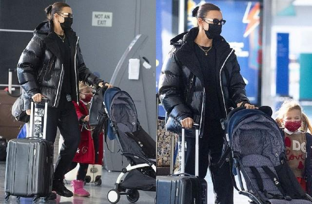 irina shayk spotted at new york airport with daughter lea