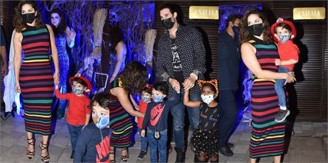 sunny leone spotted outside the restaurant with family