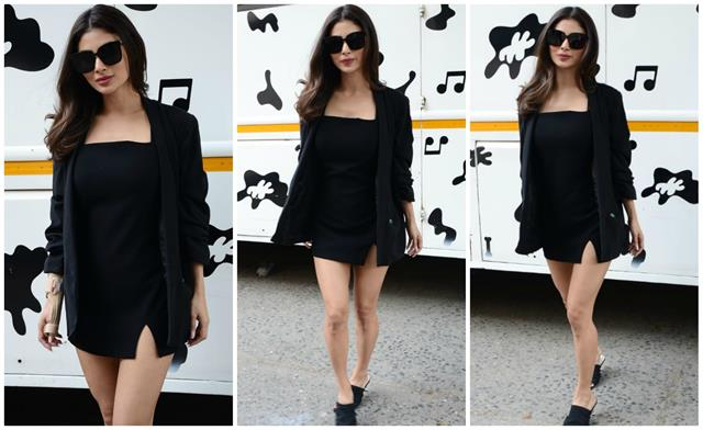 mouni roy looks bold in black mini dress