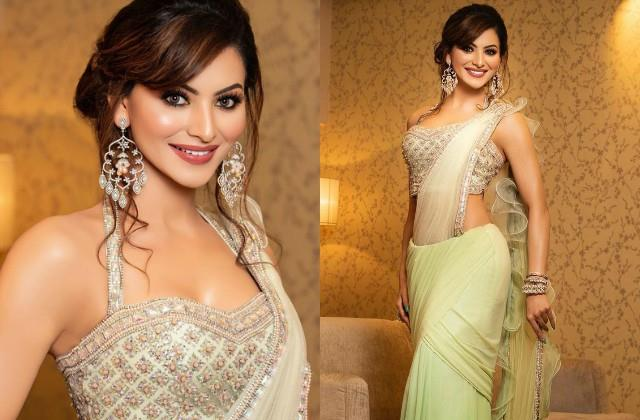 urvashi rautela wore 20 lakhs saree and jewelry at friend wedding