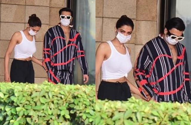 ranveer singh sees off wife deepika padukone for shooting