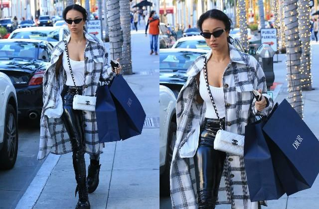 draya michele looked stunning in black and white ensemble