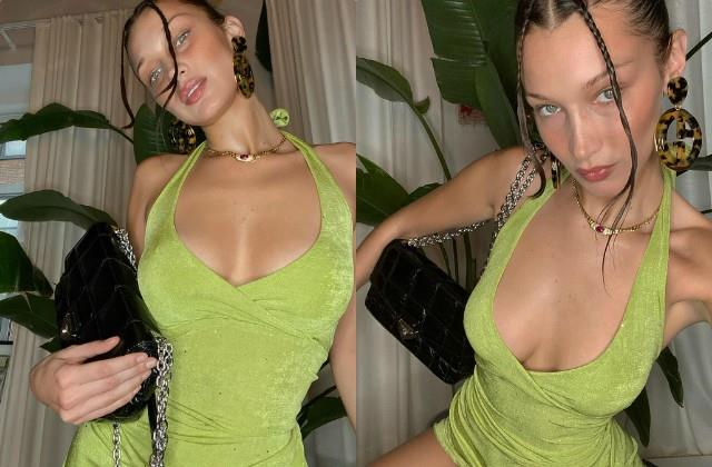 bella hadid looks bold in deep neck green dress