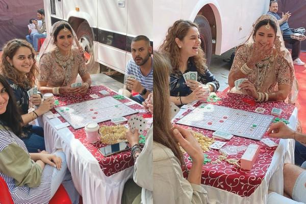 katrina kaif playing cards in bridal outfits pictures goes viral