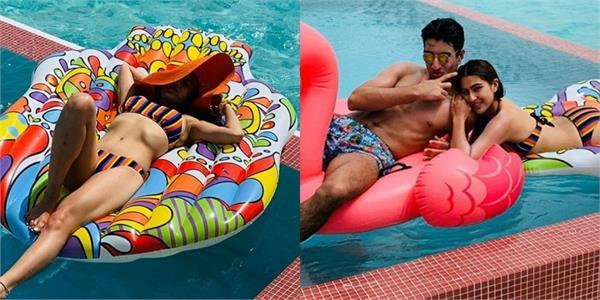 sara ali khan set temperature on internet after share bikini pictures