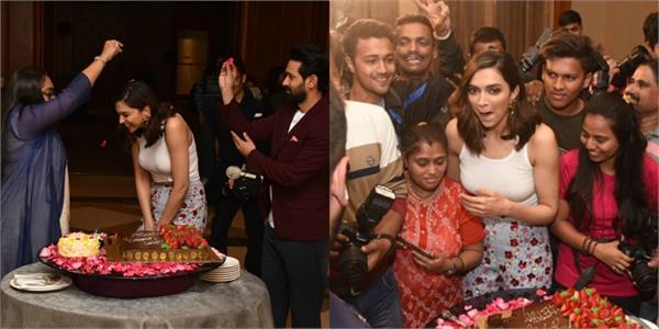 deepika pre birthday celebration with media and chhapaak team during promotions