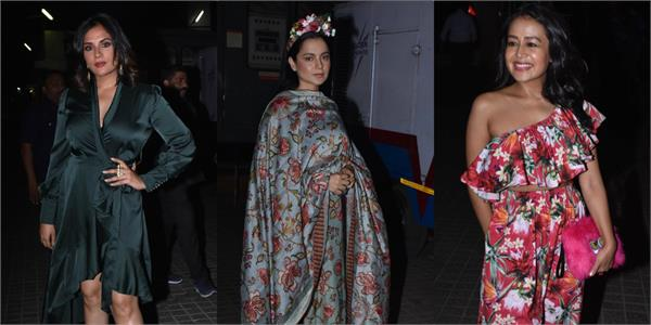 kangana richa and neha at screening of panga