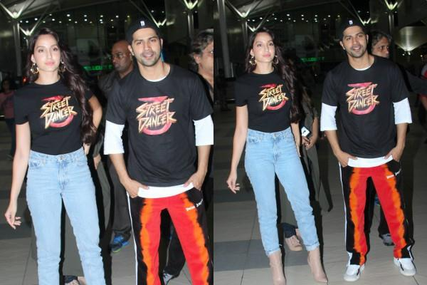 after promoting street dancer 3d in indore varun and nora are back in mumbai