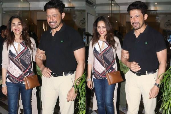 madhuri dixit spotted outside the restaurant with her husband