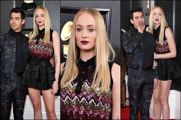 sophie turner hit the red carpet in grammy awards 2020