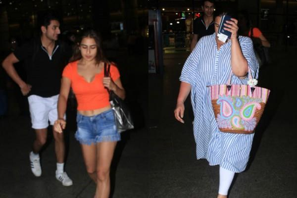 sara ali khan ibrahim and amrita singh return from maldives vacation
