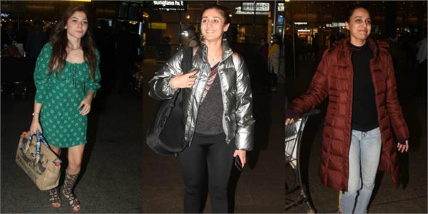 swara dhvani and kanika spotted at airport