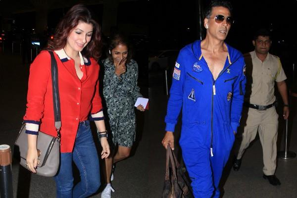 akshay and twinkle spotted at airtport