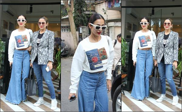 malaika reached lunch with amrita see her stylish look
