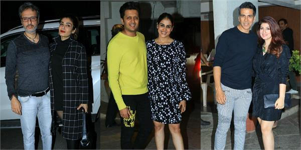 raveena twinkle and genelia at goldie behl birthday party with their husbands
