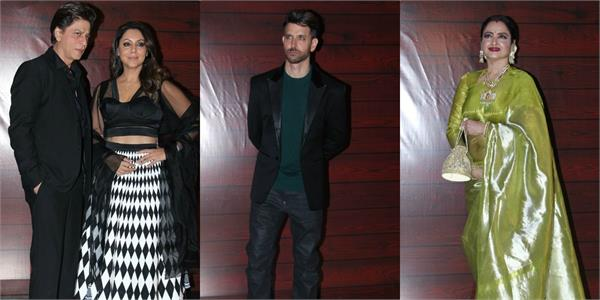 shahrukh khan hrithik roshan rekha attend javed akhtar birthday party