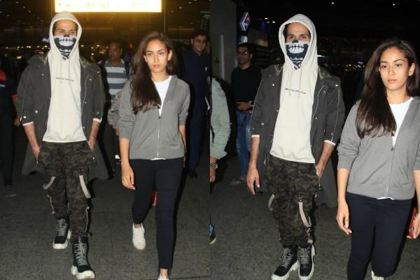 shahid kapoor cover his injury as he spotted at airpot with wife