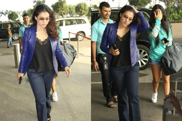 kajol and nysa spotted at airport