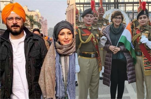 sonali bendre visit wagah border with hubby goldie behl and son ranveer