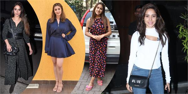 sara ali khan nushrat bharucha ileana and dhvani spotted at bandra