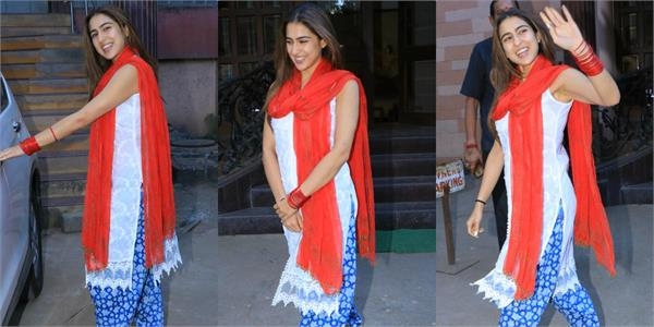 sara ali khan looked beautiful in red bangles and dupatta