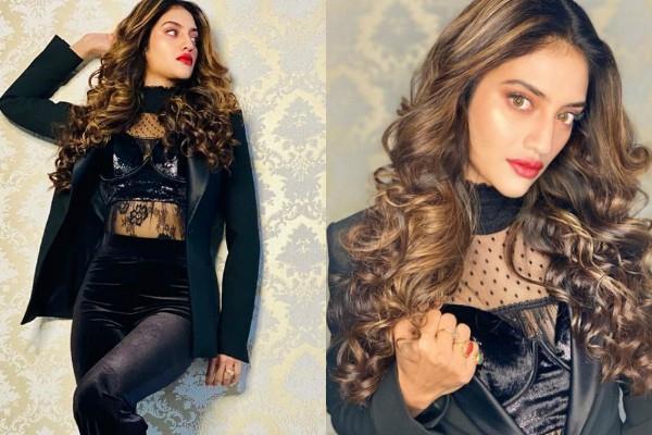 nusrat jahan looks stunning in black outfit