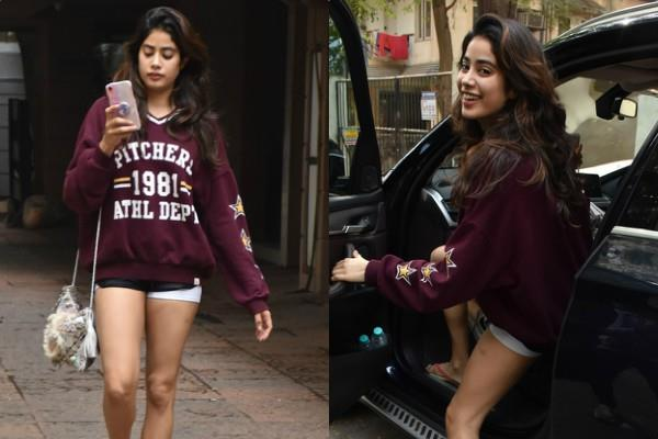 janhvi kapoor looks stunning as she spotted outside the gym