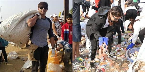 karanvir and bhumi arrived to versova beach for clean up