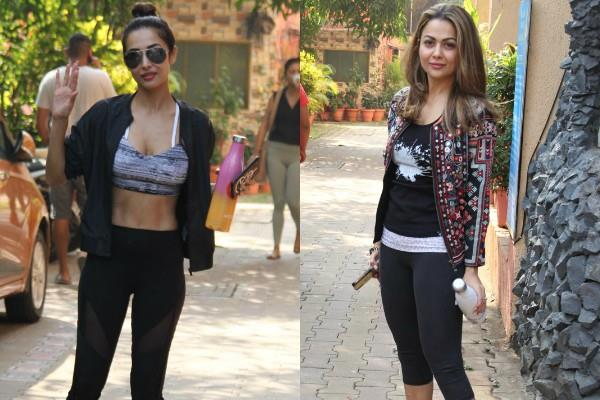 malaika and amrita arora spotted outside the yoga class
