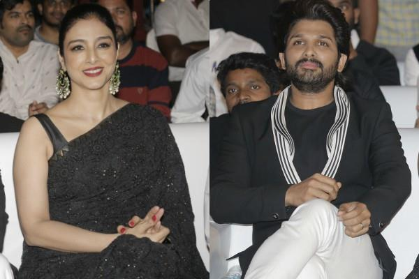 tabu and allu arjun spotted at musical event for film promotion
