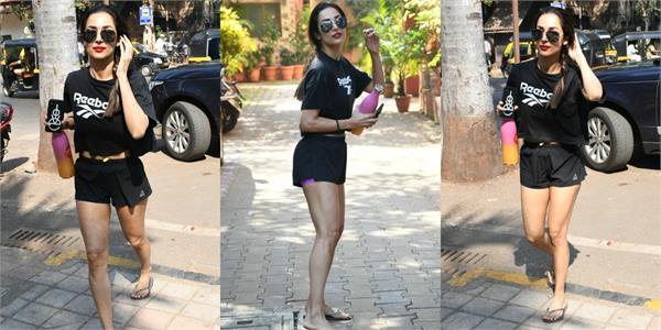malaika arora spotted outside the gym
