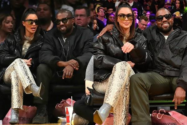 kim kardashian watch basketball match with kanye west