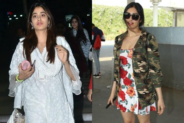 janhvi and adah sharma at airport